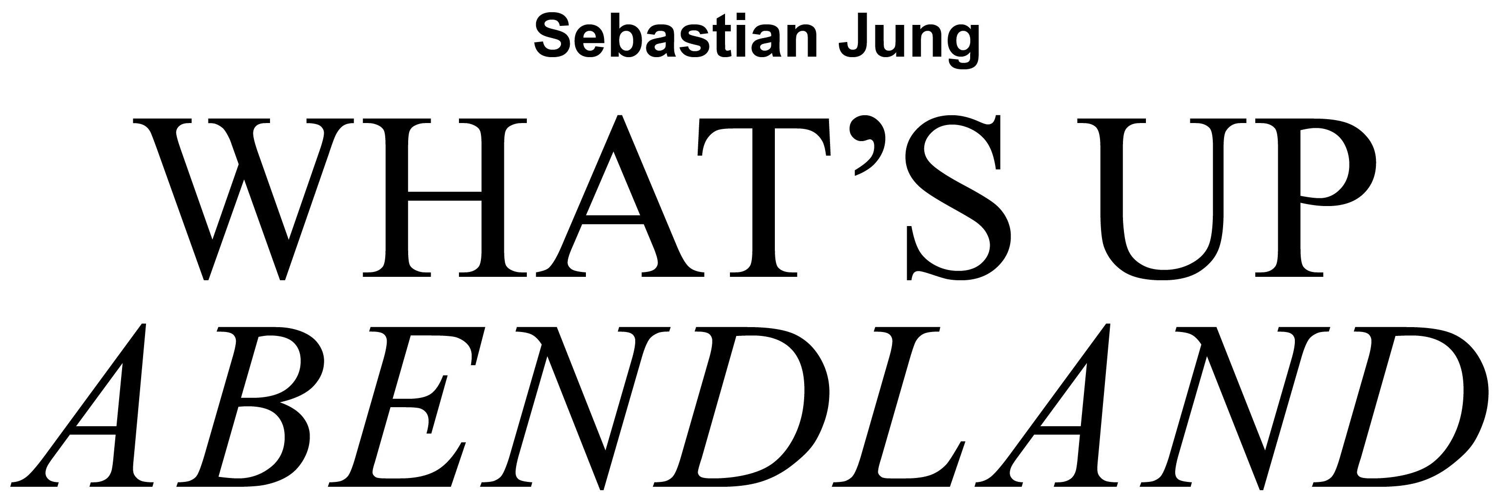 Sebastian Jung: WHAT'S UP ABENDLAND